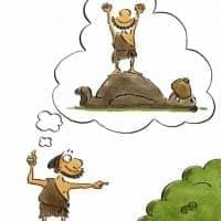 Metapher zur Ausgangssituation des Auftraggebers einer Beratung, eines Trainings oder eines Coachings: ein Steinzeitmensch, der einen Bären erlegen möchte